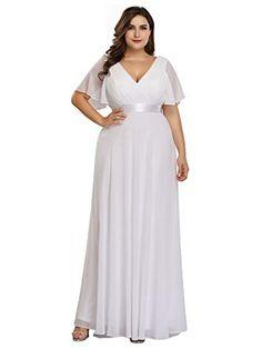 0748b456380 Ever-Pretty Robe de Soirée Longue Femme Double Col V Manche Courte Grande  Taille