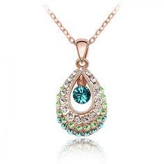 Tianzhu принцесса Кристалл Ожерелье (розовое золото + синий циркон)