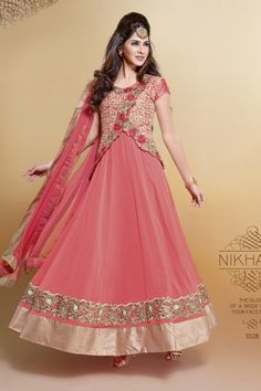 Pink Faux Georgette #Anarkali #Suit with Embroidered and Lace Work - Rs. 5,199. #zohraa