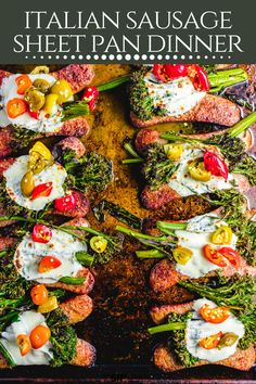 Broccolini and Italian Sausage Sheet Pan Dinner | This easy one pan dinner only has 5 ingredients! It's so easy to make and has so much flavor from the Italian sausage, garlic broccolini, fresh mozzarella and cherry peppers. #italiandinner #easydinner #sheetpan #weeknightdinner #dinner Easy Homemade Recipes, Simple Recipes, Healthy Recipes, Healthy Weeknight Meals, Fast Easy Meals, Italian Sausage Recipes, American Recipes, Best Dinner Recipes