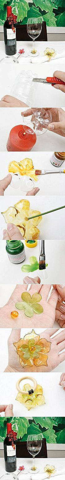 .como hacer flores con envasses de refresco