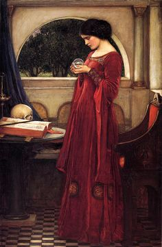 books0977:    The Crystal Ball (1902). John William Waterhouse (English, 1849-1917). Oil on canvas. Romanticism. Genre painting. Private collection.  A painter of classical, historical, and literary subjects, Waterhouse had an interest in themes associated with the Pre-Raphaelites, particularly tragic or powerful femmes fatales, as well as plein-air painting.   In 1885 Waterhouse was elected an associate of the Royal Academy and a full member in 1895.