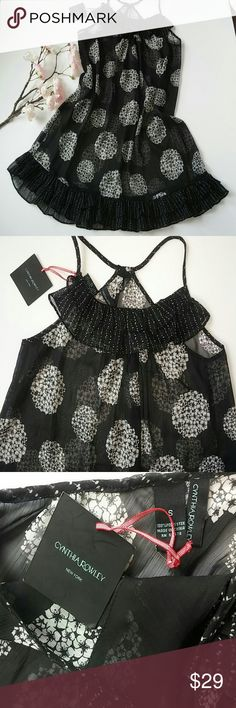 """New Cynthia Rowley Babydoll Lingerie Nightie Slip New with Tags Brand: Cynthia Rowley Size: Small Color: Black and White Print: Floral Pattern Sheer Chemise Nightie with Ruffled Hem and Neckline Racerback with Thin Lingerie Straps (non adjustable) Polyester Machine Wash  Measurements: 37"""" Underarm to Underarm - doubled 33"""" Total Length - top of strap to bottom hem Cynthia Rowley Intimates & Sleepwear"""