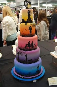 Love story told in the cake. Have the guy playing disc golf and the girl painting!