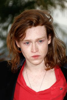 "Ethereal Caleb Landry Jones looks just right with this ""halo"" of hair vs a boyish crop."