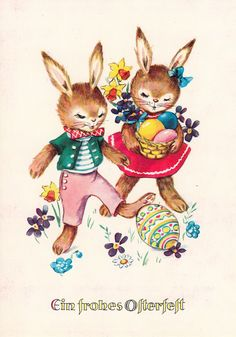 Old Easter Post Card — Frohe Ostern Easter Art, Easter Bunny, Vintage Postcards, Pikachu, Teddy Bear, Kawaii, Bunnies, Canvas, Illustration