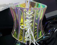8 colors Holographic Viny PVC Mermaid Underbust Corset | Etsy Music Festival Outfits, Festival Dress, Rave Music, Vinyl Dress, Burning Man Outfits, Circle Dress, Underbust Corset, Carnival Costumes, Gothic Dress