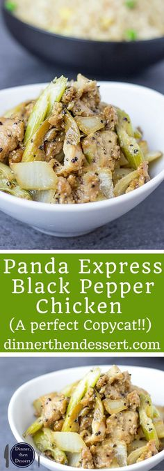 Panda Express Black Pepper Chicken Copycat is marinated ginger soy chicken, in a peppery black pepper sauce with celery and onions that tastes exactly like the Panda Express version you love! And really low in fat and WW points! Turkey Recipes, Chicken Recipes, Dinner Recipes, Celery Recipes, Panda Express Recipes, Soy Chicken, Peppered Chicken Recipe, Black Pepper Chicken Chinese, Mustard Chicken