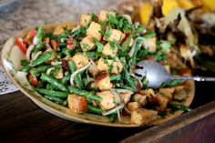 Panzanella Salad - green beans, tomatoes, cornbread croutons, tarragon vinaigrette A&N Catering in Oxford, MS Photo: Brandall Atkinson Photography