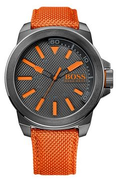 Free shipping and returns on BOSS Orange Round Nylon Strap Watch, 50mm at Nordstrom.com. A textured dial and coordinating woven-nylon strap add rugged dimension to a round sports watch designed with a sleek, brushed-steel case.