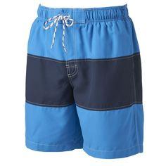 Big & Tall Croft & Barrow® Colorblock Microfiber Swim Trunks, Men's, Size: Xl Tall, Blue Other