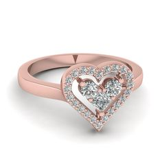 Shop heart diamond engagement promise ring in 14k rose gold at Fascinating Diamonds. Make your soulmate more special by gifting this beautiful Promise Rings.