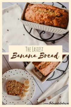 The Easiest Banana Bread  This simple recipe is delicious and moist every time. Add in walnuts or chocolate chips for a little variety!  #bananabread #bananamuffins #breadrecipes #banana #bread #chocolatechipbananabread