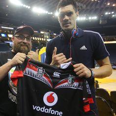 0b0b04607da Steven Adams presented with a 2015 Vodafone Warriors jersey   WarriorsForever  Basketball  NBA