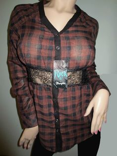 Rock 47 by Wrangler Western Black Brown Plaid Raglan Long Sleeve Shirt XL Sexy Cowgirl