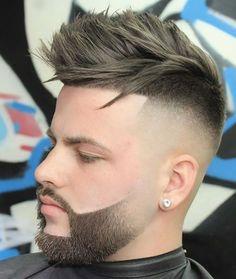 Faux Hawk + High Skin Fade - 20 Popular Fade Haircuts with Beard Styles Fade Haircut With Beard, Skin Fade With Beard, Pompadour Fade Haircut, Beard Haircut, Beard Fade, Mens Hairstyles With Beard, Quiff Hairstyles, Haircuts For Men, Beard Styles For Men