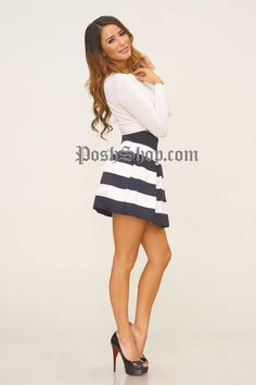 Striped Bandage Skater Skirt