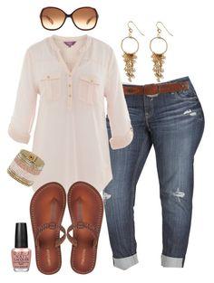 Boyfriend Jeans & Flip Flops - Plus Size by alexawebb on Polyvore featuring Vigoss, Miss Selfridge, Alicia Marilyn Designs, Vera Bradley, OPI and plus size