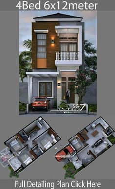4 Bedrooms Home design plan - Home Ideas - House Architecture Two Story House Design, 2 Storey House Design, Duplex House Design, Duplex House Plans, Simple House Design, House Front Design, Minimalist House Design, Modern House Design, Two Storey House Plans