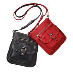 """Soft, pebbled-leather crossbody perfect for hands-free toting. One zip pocket and one snapclose flap pocket with faux-buckle on front. Inside: two slip and one zip pocket. Zipper closure. 10"""" H x 9"""" L x 1"""" W; strap drop, 23"""". Adjustable strap. Fully lined."""