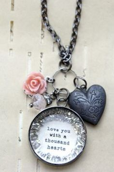 Love you with a thousand hearts pink locket