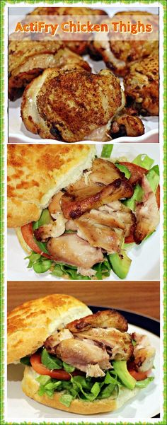 ActiFry Chicken Thighs & other quick recipe ideas for when you're tired! Fab Food 4 All Yummy Chicken Recipes, Chicken Thigh Recipes, Yum Yum Chicken, Quick Recipes, Vegan Recipes Easy, Easy Dinner Recipes, Easy Meals, Delicious Recipes, Air Fryer Recipes Chicken Thighs