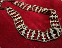 Vintage Czech crystal rhinestone necklace Perfect for vintage bridal wedding jewelry Rows of prong set glass stones connected to a twisted chain. Chain appears to be darkened silver tone 16 inches x 3/4 inches Glass clasp is signed Czechoslovakia Good vintage condition, shows some wear to the chain International buyers welcome, I offer generous combined shipping discounts, just ask! Priority shipping options are offered 40517  Credit cards and Paypal accepted.  Want to see more great nec...