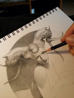 Allen Williams - The Sphinx progress Fantasy Drawings, Dark Art Drawings, Cool Drawings, Drawing Sketches, Fantasy Art, Figure Drawing, Drawing Reference, Futuristic Art, Portrait Art