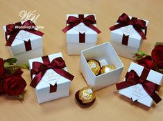 Elegant Wedding Bonbonniere, Wedding favor boxes with Wine Burgundy satin ribbon bow and personalized tag, custom candy box for party guests - Elegant Wedding Candy Box – Wedding Favor Boxes with Burgundy Satin Bow and Custom Personalized T - Wedding Reception Favors, Candy Wedding Favors, Elegant Wedding Favors, Wedding Favor Boxes, Wedding Favors For Guests, Bridal Shower Favors, Wedding Gifts, Party Guests, Wedding Ideas