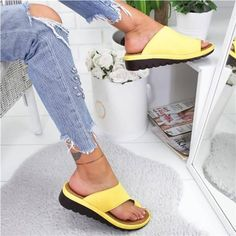 Costbuys Women Shoes Slippers Foot-Sandal Platform Wedge Open-Toe Flat-Sole Plus-Size Ladies Thick Womens Sandals Orthopedic Sandals, Knock Knees, Bunion, Shoes Sandals, Heels, Wedge Sandals, Black Girl Fashion, Child Fashion, Summer Outfits Women