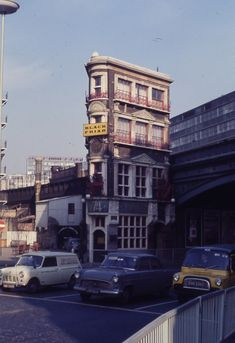 I love this pub - an incongruous slice of cheese of a building! Photos by an unknown photographer donated to The Bishopsgate Institute [via Spitalfields Life]