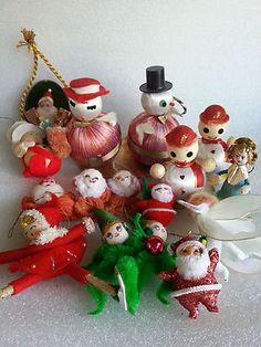 Vintage Christmas Spun Cotton Japan Chenille Ornaments Satin Ball Snowmen | eBay