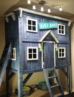 diy bunk bed for boys room! loft bed. tree house bunk bed.   boys