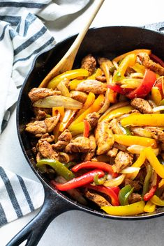 These chicken fajitas need only a few ingredients, are made in one pan, and take less than 30 minutes. This recipe is easy to make and packed with flavor!
