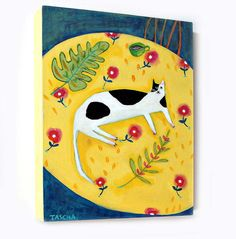 Black and White Cat on a Yellow table cloth Cat folk art