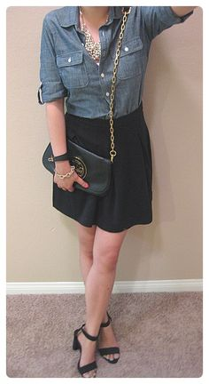 Chambray shirt with Black mini skirt- maybe use a black leather skirt?