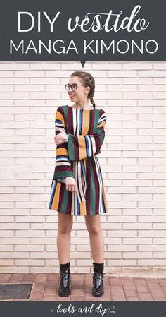 New diy ropa facil dress tutorials Ideas Kimono Diy, Kimono Fabric, Diy Clothing, Sewing Clothes, Dress Clothes, Robe Diy, Diy Mode, Make Your Own Clothes, Diy Couture