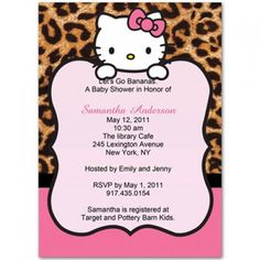 leopard hello kitty baby shower invitations i love these i want these for her bday invites♥