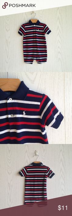 Ralph Lauren Striped Shortalls Navy red and white striped Shortalls. Cotton pique. Double button closure. Signature embroidered pony on upper left chest. Snap inseam closure. Ralph Lauren One Pieces