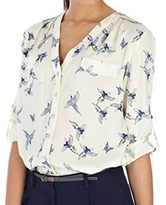 Lovaru Womens Fashion Elegant Bird Print Blouse Long Sleeve Casual Slim Shirts *** Learn more by visiting the image link.Note:It is affiliate link to Amazon. #commentback