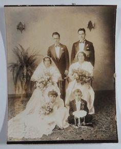 Orig. B&W Wedding Photograph, Bride & Groom, Flower Girl, Ring Bearer, Bouquet  | eBay