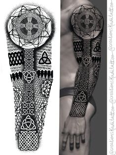 Celtic Sleeve Tattoos, Viking Tattoo Sleeve, Viking Tattoo Symbol, Lion Tattoo Sleeves, Tribal Arm Tattoos, Norse Tattoo, Tribal Tattoo Designs, Geometric Tattoo Pattern, Geometric Mandala Tattoo