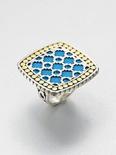 John Hardy Turquoise, 18K Yellow Gold and Sterling Silver Ring/Large