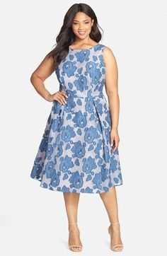 Free shipping and returns on Adrianna Papell Floral Mesh Burnout Fit & Flare Dress (Plus Size) at Nordstrom.com. A dress with ladylike charm is shaped from a cotton-blend fabric with a mesh burnout pattern in soft blue and white. A V-neckline in back adds a sweet touch.
