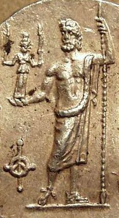 Detail of Zeus standing facing, holding spear and a small statue of Hecate - from Greco-Baktrian Kingdom culture, circa 200-150 BC - at the rivate collection