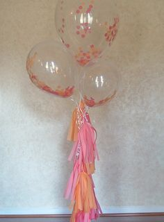 Set of 3 Clear balloons filled w/ confetti.  pommagic.etsy.com