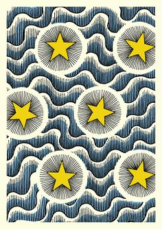 Celestial, Textile Card by Cressida Bell Motifs Textiles, Textile Prints, Textile Patterns, Textile Design, Fabric Design, Print Patterns, Floral Patterns, Pattern Art, Art Et Illustration