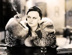 Jean Harlow in Iron Man (1931) wearing spotted fur with CHINCHILLA collar/cuffs