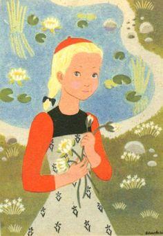 Gratulasjonskort jente med vannliljer Edvarda Lie utg Oppi 1940-tallet