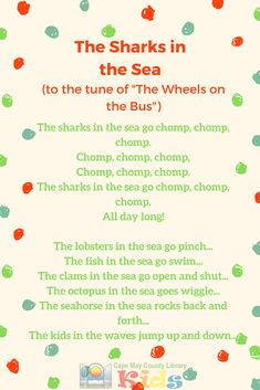 A favorite action song for summer and warm-weather storytimes! This song can easily be accompanied by movement throughout the verses. #CMCLKids #Storytime #EarlyLiteracy #Library #Programming #Rhymes #ActionRhyme #LibraryProgram #KidsEvents #KidsSongs #ChildrensMusic #LibraryLife #Sharks #Ocean #Movement